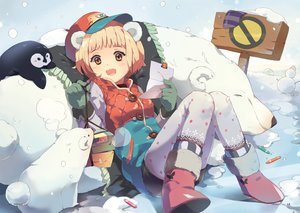 Rating: Safe Score: 54 Tags: animal animal_ears gloves hat orange_eyes original snow tiru User: aoyoru