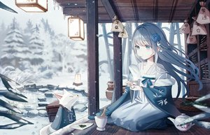 Rating: Safe Score: 91 Tags: animal blue_eyes blue_hair building chinese_clothes drink fox iren_lovel long_hair original snow water User: Dreista