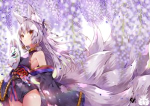 Rating: Safe Score: 102 Tags: animal_ears bell flowers foxgirl gray_hair japanese_clothes long_hair mask multiple_tails original red_eyes tail usagihime watermark User: BattlequeenYume