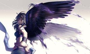 Rating: Safe Score: 160 Tags: black_hair feathers gray_eyes long_hair original rosuuri watermark wings wristwear User: mattiasc02