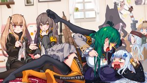 Rating: Safe Score: 69 Tags: anthropomorphism aqua_eyes blush breasts brown_eyes brown_hair cat_smile fn_fnc_(girls_frontline) g11_(girls_frontline) g28_(girls_frontline) girls_frontline green_eyes green_hair hk416_(girls_frontline) long_hair navel p7_(girls_frontline) pantyhose scar skirt ssorasora thighhighs twintails ump-45_(girls_frontline) ump-9_(girls_frontline) white_hair User: RyuZU