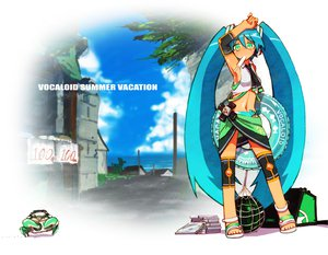 Rating: Safe Score: 48 Tags: animal beach crab green_hair hatsune_miku headphones sonjow4 vocaloid watermelon User: opai