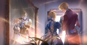 Rating: Safe Score: 54 Tags: armor artoria_pendragon_(all) blonde_hair bow braids dress fate/grand_order fate_(series) flowers gilgamesh gloves lorein male reflection short_hair User: BattlequeenYume