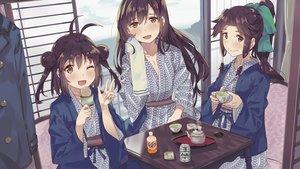 Rating: Safe Score: 52 Tags: anthropomorphism brown_hair drink food japanese_clothes jintsuu_(kancolle) kantai_collection long_hair naka_(kancolle) orange_eyes ponytail sendai_(kancolle) short_hair tonari_no_kai_keruberosu towel wink yukata User: otaku_emmy
