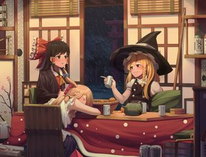 Rating: Safe Score: 17 Tags: blonde_hair braids brown_eyes brown_hair drink food fruit goback hakurei_reimu hat horns ibuki_suika kirisame_marisa kotatsu long_hair night orange_(fruit) red_eyes snow touhou witch witch_hat User: あかり