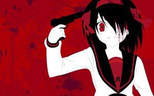 Rating: Safe Score: 39 Tags: blood gun red suzumiya_haruhi suzumiya_haruhi_no_yuutsu weapon zono_(rinkara-sou) User: 秀悟