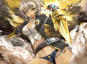 Rating: Safe Score: 210 Tags: armor blazblue blonde_hair bullet_(blazblue) cleavage haik navel short_hair shorts sky tagme white_hair yellow_eyes User: opai