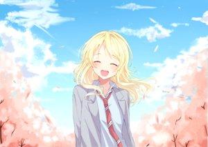 Rating: Safe Score: 37 Tags: blonde_hair blush clouds long_hair miyazono_kaori miyo_(user_zdsp7735) petals school_uniform shigatsu_wa_kimi_no_uso sky tie User: RyuZU