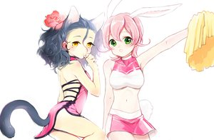 Rating: Safe Score: 79 Tags: animal_ears black_hair bunny_ears bunnygirl catgirl cheerleader chinese_clothes chinese_dress crossover diarmuid_ua_duibhne_(fate) dress fate_(series) fate/stay_night fate/zero flowers green_eyes hakusai iii pink_hair rose short_hair skirt tail yellow_eyes yu-gi-oh User: Maboroshi