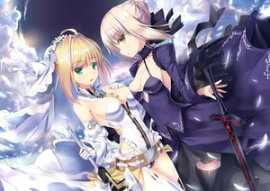 Rating: Safe Score: 25 Tags: blonde_hair braids breasts cafeore chain clouds elbow_gloves fate/grand_order fate_(series) gloves green_eyes petals saber saber_alter saber_bride short_hair sky sword thighhighs weapon yellow_eyes User: RyuZU