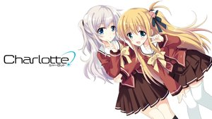 Rating: Safe Score: 118 Tags: 2girls blonde_hair blue_eyes blush bow charlotte gray_hair hizuki_yayoi logo long_hair nishimori_yusa school_uniform skirt thighhighs tomori_nao twintails white User: Stealthbird97