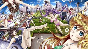 Rating: Safe Score: 65 Tags: animal_ears barefoot bikini black_hair blonde_hair blue_eyes breasts brown_eyes brown_hair bubbles building car catgirl city cleavage green_eyes group ilolamai jpeg_artifacts long_hair navel original purple_hair scenic school_swimsuit short_hair shorts signed swimsuit tail underwear wet User: gnarf1975