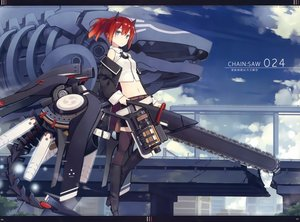 Rating: Safe Score: 57 Tags: aqua_eyes chainsaw clouds horns mechagirl navel poco ponytail scan short_hair sky sword thighhighs weapon User: RyuZU