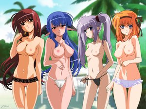Rating: Questionable Score: 81 Tags: breasts fuyou_kaede lisianthus long_hair nerine nipples pointed_ears primula shuffle twintails User: 秀悟