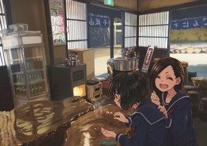Rating: Safe Score: 39 Tags: black_hair brown_hair drink food michinoku_(hiking_miusan18) original school_uniform short_hair User: mattiasc02