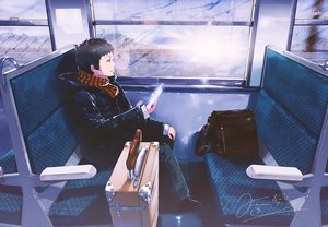 Rating: Safe Score: 38 Tags: all_male black_hair brown_eyes hoodie male original phone reflection scarf short_hair signed tagme_(artist) train User: RyuZU