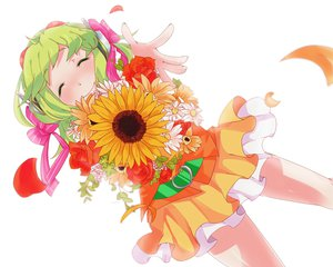 Rating: Safe Score: 32 Tags: bow flowers goggles green_hair gumi petals short_hair skirt uryu vocaloid User: Maboroshi