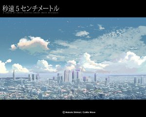 Rating: Safe Score: 26 Tags: byousoku_5_centimetre city clouds petals scenic shinkai_makoto sky User: Oyashiro-sama