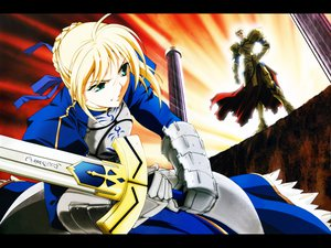 Rating: Safe Score: 2 Tags: artoria_pendragon_(all) fate_(series) fate/stay_night gilgamesh saber sword weapon User: Oyashiro-sama