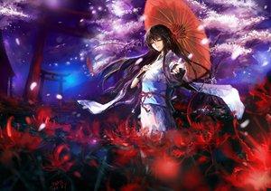 Rating: Safe Score: 147 Tags: brown_hair cherry_blossoms flowers japanese_clothes kimono long_hair original petals signed stu_dts umbrella User: opai