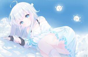 Rating: Safe Score: 46 Tags: amatsuka_uto amatsuka_uto_(channel) blue_eyes deyui dress gray_hair long_hair watermark User: BattlequeenYume
