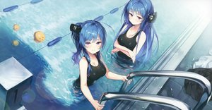 Rating: Safe Score: 99 Tags: anthropomorphism azur_lane blue_hair breast_hold breasts cleavage cropped helena_(azur_lane) long_hair manjuu_(azur_lane) pool purple_eyes scan senji_(tegone_spike) st._louis_(azur_lane) swimsuit water User: Nepcoheart