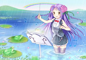 Rating: Safe Score: 48 Tags: nekosugiayana original purple_hair rainbow skirt thighhighs water wet yellow_eyes User: opai