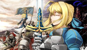 Rating: Safe Score: 60 Tags: armor artoria_pendragon_(all) blonde_hair emerane fate_(series) fate/stay_night fate/zero lancelot_(fate) saber sword weapon User: opai