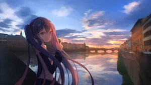 Rating: Safe Score: 27 Tags: ajisashihou blue_hair building city hatsune_miku long_hair reflection sunset twintails vocaloid water User: RyuZU
