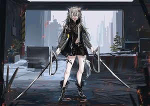 Rating: Safe Score: 51 Tags: animal_ears arknights building city gray_eyes gray_hair lappland_(arknights) long_hair shorts sword tagme_(artist) tail weapon wolfgirl User: BattlequeenYume