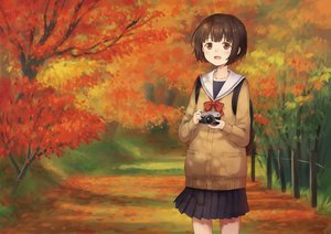 Rating: Safe Score: 21 Tags: 104 autumn bow brown_eyes brown_hair camera forest original seifuku short_hair skirt tree User: RyuZU