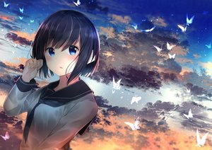 Rating: Safe Score: 48 Tags: aqua_eyes black_hair blush butterfly clouds neku_(neku_draw) original seifuku short_hair sky sunset User: BattlequeenYume