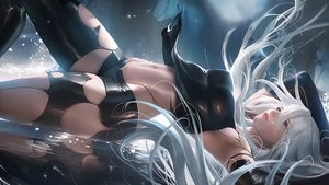Rating: Safe Score: 103 Tags: elbow_gloves gloves long_hair navel nier nier:_automata reflection sakimichan shorts signed water watermark white_hair yorha_unit_no._2_type_a User: BattlequeenYume
