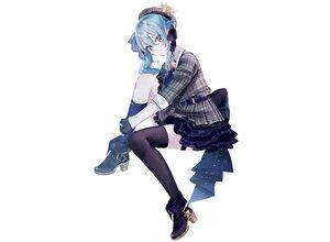 Rating: Safe Score: 57 Tags: blue_eyes blue_hair blush boots crown dress garter gloves hat hololive hoshimachi_suisei kneehighs misumi_(macaroni) ponytail ribbons thighhighs third-party_edit white User: otaku_emmy
