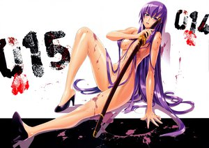 Rating: Questionable Score: 243 Tags: blood busujima_saeko highschool_of_the_dead inazuma katana long_hair nude purple_hair scan sword weapon User: Wiresetc