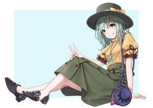 Rating: Safe Score: 34 Tags: bow dtvisu green_eyes green_hair hat komeiji_koishi necklace ribbons short_hair skirt touhou white User: RyuZU