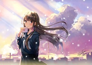 Rating: Safe Score: 29 Tags: brown_hair building city clouds kazuharu_kina long_hair original scenic seifuku signed skirt sky snow User: RyuZU