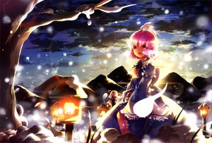 Rating: Safe Score: 6 Tags: animal aquamarine clouds konpaku_youmu myon night pink_eyes pink_hair rabbit saigyouji_yuyuko short_hair sky snow touhou tree User: HawthorneKitty