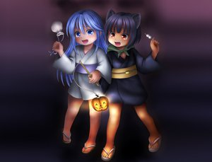 Rating: Questionable Score: 14 Tags: animal_ears blue_eyes blue_hair halloween japanese_clothes loli original yukata User: gnarf1975