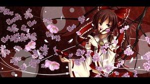Rating: Safe Score: 63 Tags: brown_hair cherry_blossoms drink hakurei_reimu japanese_clothes long_hair miko ponytail ribbons sake touhou User: Tensa