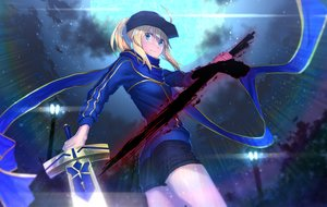 Rating: Safe Score: 35 Tags: aqua_eyes blonde_hair clouds fate_(series) fate/stay_night hat heroine_x lip-mil moon night saber short_hair shorts sky stars sword weapon User: RyuZU