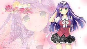 Rating: Safe Score: 111 Tags: blush bow braids daikou_wakako game_cg green_eyes headband hearts_(company) koi_saku_miyako_ni_ai_no_yakusoku_wo_~annaffiare~ logo long_hair natsume_eri purple_hair ribbons school_uniform skirt zoom_layer User: C4R10Z123GT