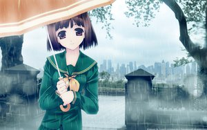 Rating: Safe Score: 62 Tags: brown_eyes brown_hair city murakami_suigun park rain scenic seifuku short_hair tree umbrella water User: Maboroshi
