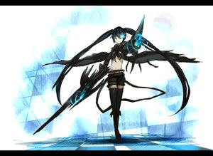 Rating: Safe Score: 133 Tags: black_hair black_rock_shooter blue_eyes boots cape gun kuroi_mato long_hair shiroganeusagi sword thighhighs weapon User: HawthorneKitty