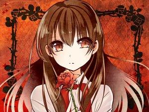 Rating: Safe Score: 66 Tags: brown_eyes brown_hair flowers ib ib_(ib) long_hair rose yui0a User: FormX