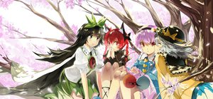Rating: Safe Score: 70 Tags: cherry_blossoms dress hat kaenbyou_rin komeiji_koishi komeiji_satori petals purple_hair reiuji_utsuho saberiii touhou wings User: opai