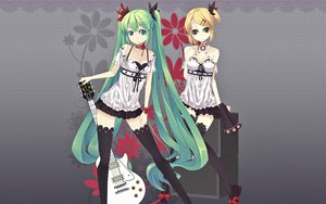 Rating: Safe Score: 155 Tags: aqua_hair blonde_hair dress flowers guitar hatsune_miku headdress instrument kagamine_rin long_hair ponytail short_hair thighhighs twintails vocaloid world_is_mine_(vocaloid) User: dayoflayo