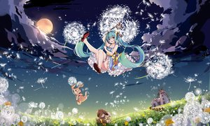 Rating: Safe Score: 71 Tags: animal aqua_eyes aqua_hair building clouds flowers grass hatsune_miku hnanati jpeg_artifacts long_hair moon night rabbit scenic stars twintails vocaloid windmill User: FormX
