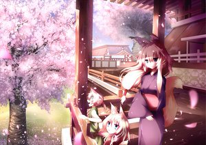 Rating: Safe Score: 100 Tags: animal_ears cherry_blossoms flowers foxgirl japanese_clothes jebura kimono original petals scenic spring tail tree User: Dust