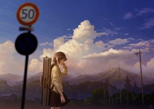 Rating: Safe Score: 44 Tags: brown_hair clouds instrument mocha_(cotton) original seifuku short_hair signed skirt sky tree User: RyuZU